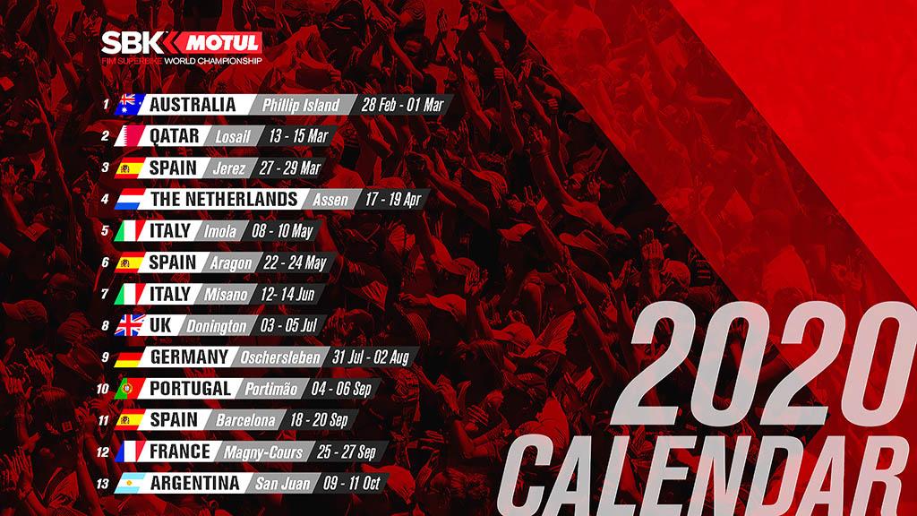 CAMPEONATO DEL MUNDO SUPERBIKES WORLDSBK 2020: NUEVO CALENDARIO, ¡CON 3 CARRERAS EN ESPAÑA!